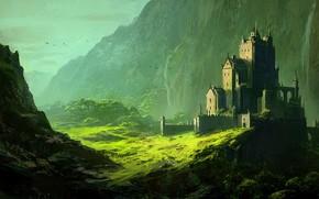 Картинка fantasy, trees, landscape, mountains, birds, waterfall, castle, digital art, artwork, Andreas Rocha, fantasy art
