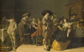 Картинка масло, картина, Антони Паламедес, 1630, Anthonie Palamedesz, Компания в Комнате