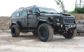 Картинка черный, джип, внедорожник, Бронеавтомобиль, бронированный автомобиль, Terradyne Armored, Armet Gurkha, Terradyne Gurkha RPV
