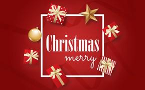 Картинка Рождество, подарки, Новый год, красный фон, 2020