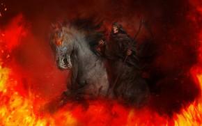 Картинка Лошадь, Огонь, Смерть, Hell, Пламя, Коса, Fire, Flame, Death, Horse, Scythe, Ад, Antonio J. Manzanedo, …