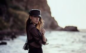 Картинка море, взгляд, девушка, поза, боке, Dilara Kirmit, Nurettin Yildirim