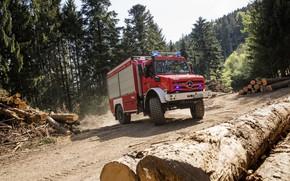 Картинка лес, Mercedes-Benz, грузовик, брёвна, спецтехника, Unimog, U5023