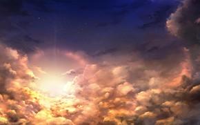 Картинка небо, солнце, облака, закат