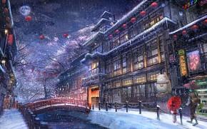 Картинка зима, город, аниме, прогулка