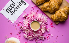 Картинка цветы, кофе, завтрак, лепестки, хризантемы, pink, flowers, cup, coffee, good morning, круассаны, croissant, breakfast, petals