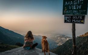 Картинка девушка, горы, знак, собака, Exploring Triund