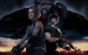 Картинка girl, gun, pistol, game, monster, weapon, woman, police, Resident Evil, man, M4A1, rifle, Biohazard, Nemesis, …