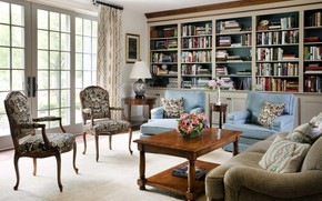 Картинка интерьер, библиотека, гостиная
