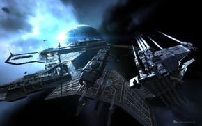Картинка космос, планета, станция, space, космический корабль, station, eve online, space ship, космоопера, empyrean age