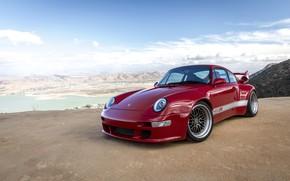 Картинка красный, купе, 911, Porsche, 993, 2017, у обрыва, Gunther Werks, 400R Coupe