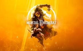 Картинка Игра, Скорпион, Боец, Арт, Смертельная Битва, Mortal Kombat, Scorpion, Персонаж, MK11, MK, 11, Cover Art, …