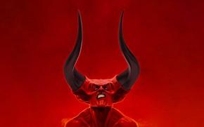 Картинка Минимализм, Стиль, Лицо, Hell, Демон, Тьма, Fantasy, Рога, Devil, Darkness, Style, Legend, Легенда, Minimalism, Face, …