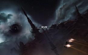 Картинка туманность, станция, Космос, space, космический корабль, eve online, space ship, червоточина, космоопера
