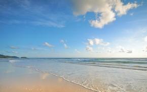 Картинка песок, море, волны, пляж, лето, summer, beach, sea, blue, seascape, sand, wave