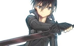 Картинка меч, аниме, арт, Мастера меча онлайн, Sword Art Online, Кирито, взглчд