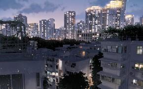 Картинка город, здания, вечер