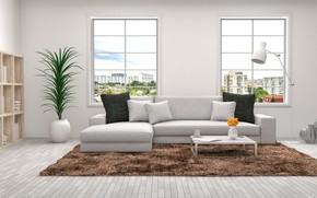 Картинка дизайн, диван, мебель, окна, интерьер, подушки, гостиная, декор, стеллажи