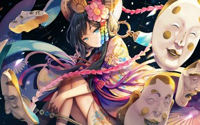 Картинка девушка, маски, Onmyouji, Онмёджи
