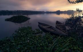 Картинка туман, река, лодки, утро