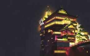 Картинка Минимализм, Ночь, Дворец, Замок, Свет, Стиль, Азия, Архитектура, Арт, Унесённые призраками, Освещение, Spirited Away