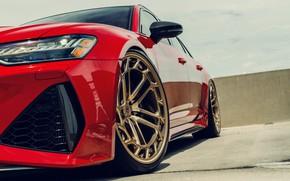 Картинка Audi, Red, Quattro, Gold, Avant, RS6