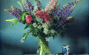 Картинка цветы, букет, люпин