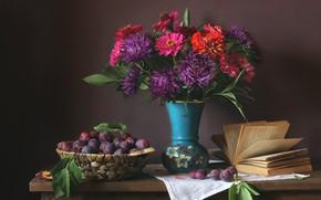 Картинка цветы, букет, книга, натюрморт, сливы, цинния