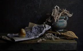 Картинка бумага, темный фон, стена, камень, доски, растение, яйцо, букет, сухой, книга, ваза, натюрморт, каменное, керамика, …