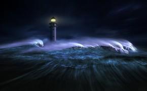Картинка море, волны, свет, ночь, темнота, графика, маяк, digital art, nikos Bantouvakis