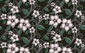 Картинка цветы, зеленый, фон, узор, текстура, розовые