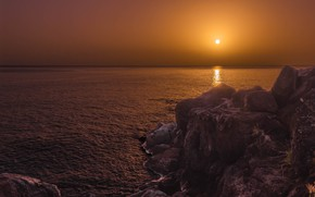 Картинка закат, океан, скалы, Атлантический океан, Atlantic Ocean, Республика Конго, Republic of the Congo