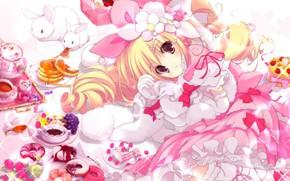 Картинка нежность, девочка, кролики, сладости, пончики