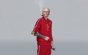 Картинка USSR, Art, Music, Player, Man, Characters, Cyber, Science Fiction, Old man, Cyberpunk, Grandfather, Futuristic, Eastern ...