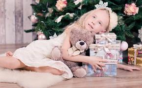 Картинка настроение, праздник, игрушка, мишка, девочка, подарки, Новый год