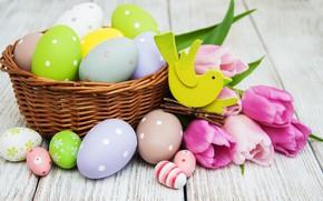 Картинка цветы, яйца, colorful, Пасха, тюльпаны, happy, wood, pink, flowers, tulips, Easter, purple, eggs, decoration, basket