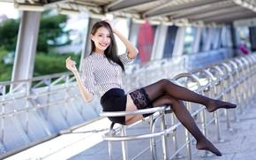 Картинка girl, Asian, legs, black stockings, photo, stockings, model, brunette, sitting, shirt, portrait, looking at camera, …