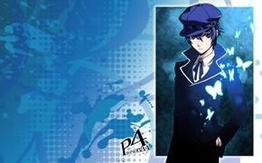 Картинка взгляд, фон, арт, парень, Persona 4, Персона