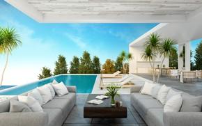 Картинка дом, комната, мебель, бассейн, роскошь