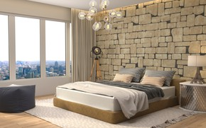 Обои дизайн, лампа, кровать, интерьер, окно, люстра, спальня, модерн, bedroom