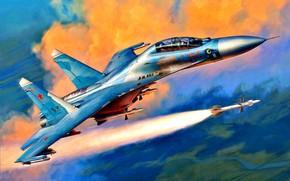 Картинка Ракета, сверхзвуковой, Двухместный, учебно-боевой истребитель, ВКС России, первый полет:1985, модификация самолета Су-27