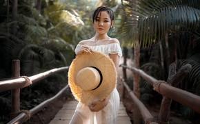 Картинка взгляд, деревья, мост, поза, модель, портрет, мокрая, шляпа, макияж, брюнетка, джунгли, прическа, азиатка, стоит, в …