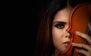 Картинка взгляд, девушка, скрипка, шатенка