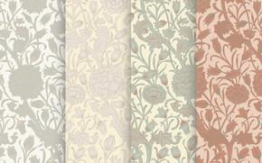 Картинка листья, цветы, фон, текстура, бутоны, Flower, Vintage, Background, Pattern