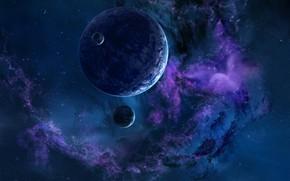 Картинка Звезды, Планета, Космос, Туманность, Планеты, Fantasy, Planets, Арт, Stars, Space, Art, Спутник, Planet, Фантастика, Nebula, …