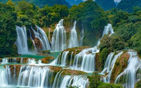Картинка лес, вода, водопад, Вьетнам, Ban Gioc Falls, Дэтянь