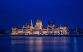 Картинка река, здание, архитектура, ночной город, Венгрия, Hungary, Будапешт, Budapest, Danube River, Здание венгерского парламента, Hungarian …
