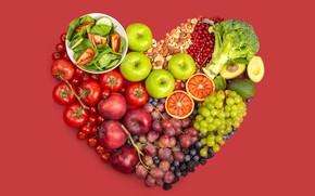 Картинка яблоки, сердце, черника, виноград, миска, фрукты, орехи, овощи, помидоры, красный фон, много, разные, смородина, ежевика, …