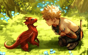 Картинка поляна, дракон, парень, дракончик, знакомство, Моя геройская академия, My Hero Academia, Boku No Hero Academia, …