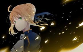 Картинка взгляд, девушка, ночь, сейбер, Артурия Пендрагон, Судьба ночь схватки, Fate / Stay Night